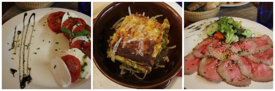 Een heerlijke Caprese, vegetarische lasagne en rosbief met eronder verstopt erwtenpuree